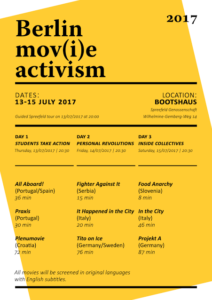 Official Poster of the Berlin Documentary Film Festival Mov(i)e Activism